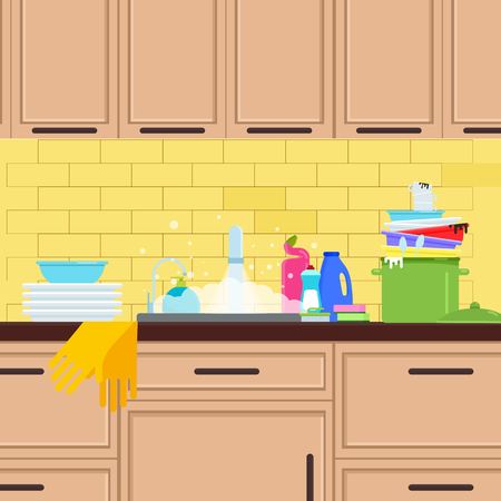 Kitchen sink. Crane in the kitchen. Vector flat illustration. Illustration
