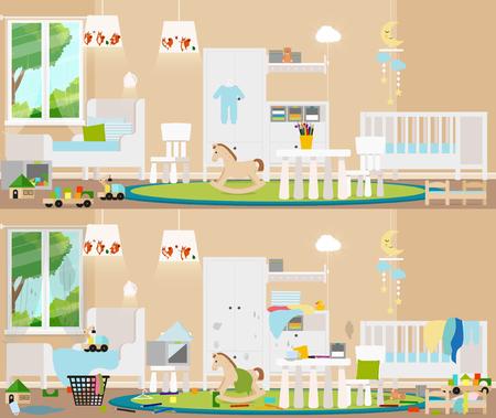 Childrens room interior. Vector flat illustration. Illustration