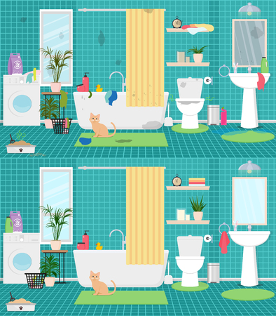 Dirty and clean bathroom interior, with a cat litter toilet bowl, washing machine, bathroom, plants. Vector flat illustration.