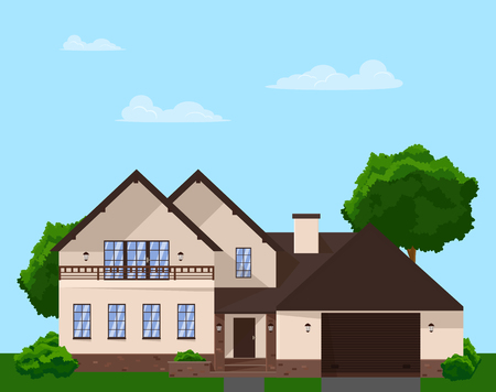 Modern design of a two-storey family house in a flat style. Vector illustration. The house is grouped and isolated.