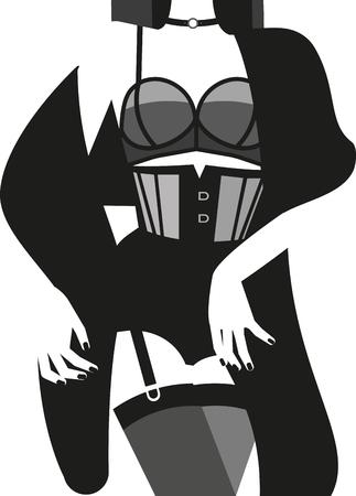 Woman in sexy underwear. Vector illustration.