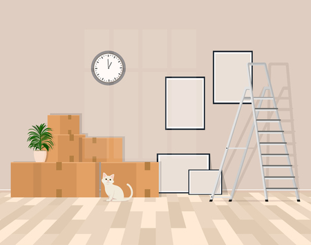 Room in the process of moving vector illustration. Foto de archivo - 98546380