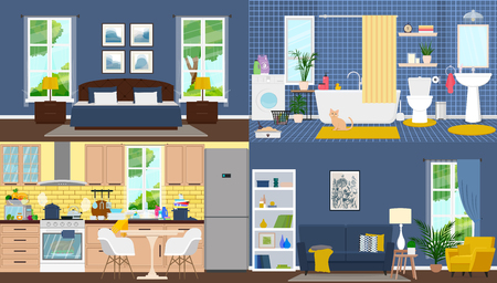 Apartment inside, rooms with furniture vector flat illustration.