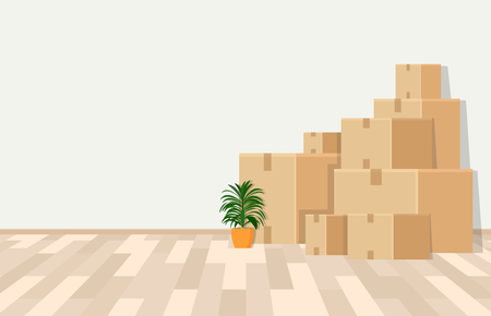 Room in the process of moving. Vector illustration. Banque d'images - 99099018