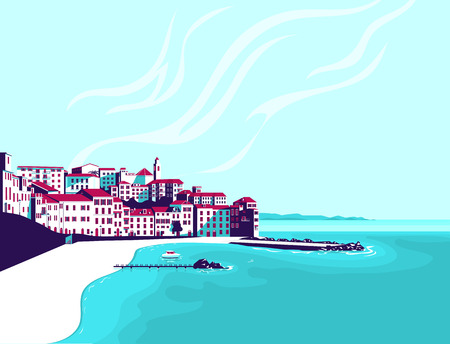 Seascape. Vector flat illustration.