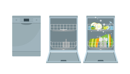 The dishwasher with the closed door, with the open door without utensils and with utensils. Isolated vector objects. Flat illustration.