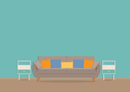Green mint wall with a sofa and curbstones on the wooden floor. Vector flat illustration. Vectores