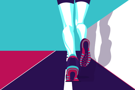 Running Man, Sports poster in the style of minimalism, flat illustration. Vettoriali