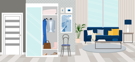Interior design of the hallway. Vector flat illustration.