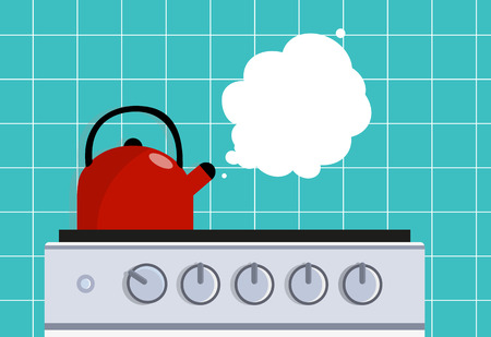 Kitchen kettle on the gas stove. Vector flat illustration.