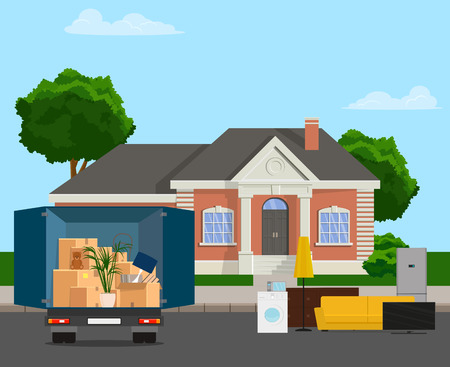 The truck is carrying things. Moving to the family in the house vector flat illustration.