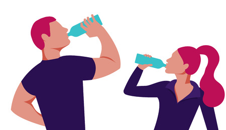 People drink clean water. Vector, fashionable flat illustration. 矢量图像