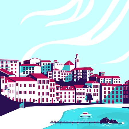 Seascape. Vector flat illustration.