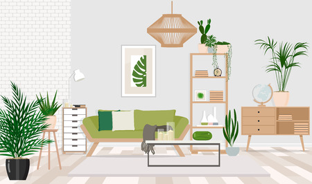 Interior design of a living room in a Scandinavian style with a green sofa, wooden furniture, room plants. Vector flat illustration.