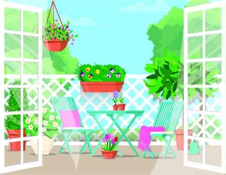 Vector flat illustration. Expanded doors to the balcony with furniture and pots of flowers.
