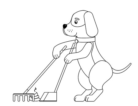 A funny dog cleaning up his new creation.Outline.Vector illustration.