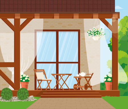 Vector illustration. Veranda with furniture and flowers.