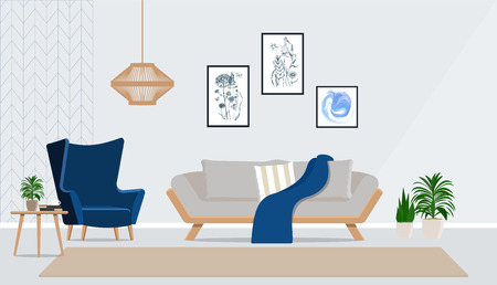 Vector illustration of an interior with a gray sofa and a bright blue armchair.