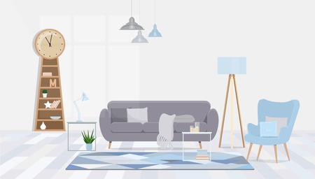 The cozy interior design blue living room. Vektorové ilustrace