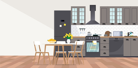 Vector banner with kitchen interior in flat style.