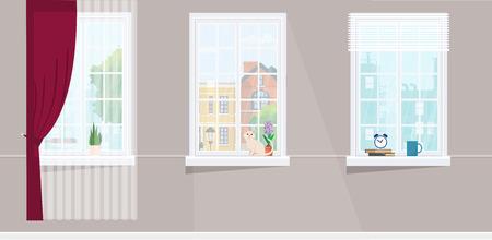 Three windows overlooking the city. Flower, cat and hot cup windowsill. Flat style vector illustration. Illustration