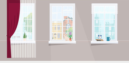 Three windows overlooking the city. Flower, cat and hot cup windowsill. Flat style vector illustration. Ilustração