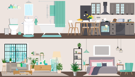 The design of the apartment in detail. Interior design inside. Vector illustration in flat style.