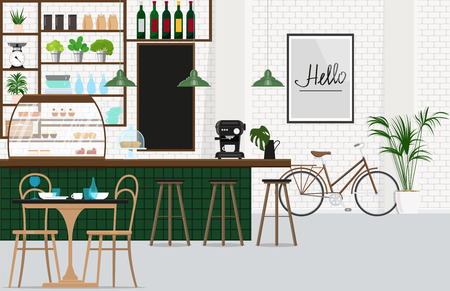 Interior design cafe with a bar, a showcase with baked, coffee machine, bar stools, dining room group. Vector flat illustration.