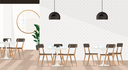 White interior design cafe or restaurant with dining groups. Vector flat illustration. Illustration