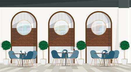 Modern, cozy interior design of the restaurant. Vector flat illustration. Illustration