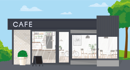 Front view of a cafe. Restaurants design is made in a modern loft style in gray tones. Vector flat illustration.Печать