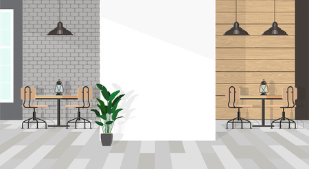 The interior of the cafe in gray tones with a white wall fragment. Minimalistic wooden furniture made of wood and black metal. Vector flat illustration. Ilustração