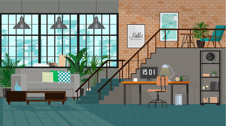 Modern interior design of a living room or office space in an industrial style Illustration