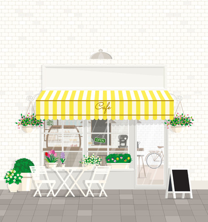 A cozy outdoor cafe with coffee tables and chairs in front of a shop window against a white brick wall with flowering plants. Vector flat illustration. Banco de Imagens