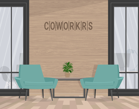 Two chairs on the background of a wooden wall. Vector flat illustration. Banco de Imagens