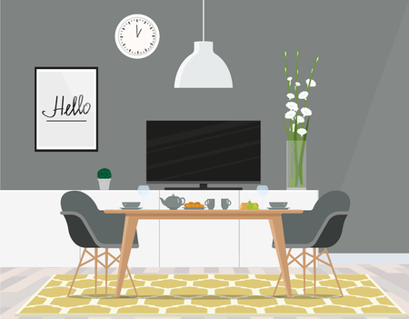 Dining room in the lounge with a TV in gray tones. Vector flute illustration.