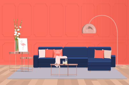 Interior design of a luxurious living room with a blue sofa against the background of a coral wall. Vector flat illumination.