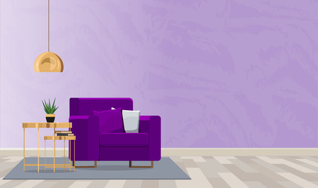 Luxurious interior design of the room with an armchair and a lamp in violet colors. Vector flat illustration. Illustration
