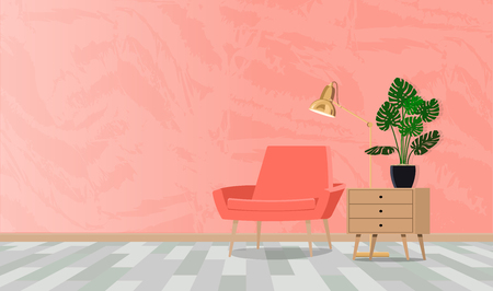 Room in coral tones with a composition of a chair with a lamp and a flower. Vector flat illustration.