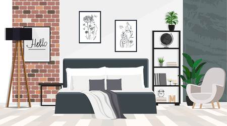 Interior design of a spacious bedroom with a large bed in a loft style. Vector flat illustration.