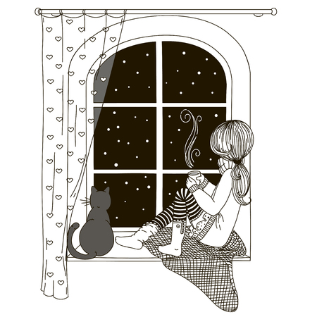 The girl is sitting on the windowsill looking out the window, with the cat in the hands of a cup of hot tea and coffee. Black and white drawing, coloring book. Banco de Imagens