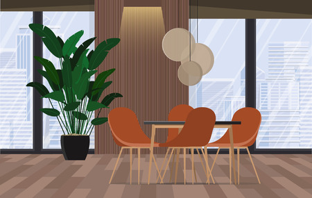 Conference room. Modern office with windows and city view.Vector illustration.