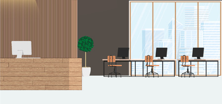 Modern interior design office. Workspace with large windows with an industrial view. Vector flat illustration.