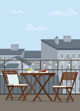 Wooden garden furniture on the balcony. Vector flat illustration.