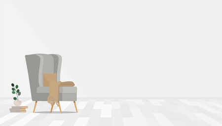 Gray armchair with books and a vase on the background of the wall. Vector flat illustration. Banco de Imagens