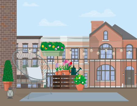 Vector flat illustration. Garden furniture on the balcony decorated with pots of flowers.