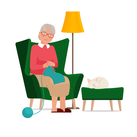 Grandmother sits in a chair and knits. Vector flat illustration.