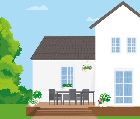Gray garden furniture on a wooden terrace with flowers. Vector flat illustration.