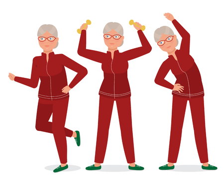 Grandma goes in for sports. Vector flat illustration.