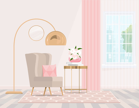Beige chair by the window with pink curtains in a bright interior. Vector graphics.